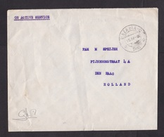 Dutch Indies: Field Post Cover To Netherlands, 1946, On Active Service, Military, Post-World War II (creases) - Nederlands-Indië