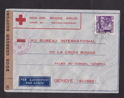 Dutch Indies: Airmail Cover To Switzerland, 1940, 1 Stamp, Red Cross, Censored, Censor Tape, WW2 (traces Of Use) - Niederländisch-Indien