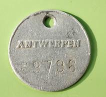 """Jeton De Taxe Sur Les Chiens """"Année 1976 N°69796 - Ville D'Anvers / Antwerpen"""" Médaille De Chien - Professionals / Firms"""