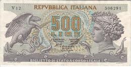 BILLETE DE ITALIA DE 500 LIRAS DEL AÑO 1966 -MEDUSA  (BANKNOTE) - [ 2] 1946-… : República