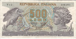 BILLETE DE ITALIA DE 500 LIRAS DEL AÑO 1966 -MEDUSA  (BANKNOTE) - [ 2] 1946-… : Repubblica