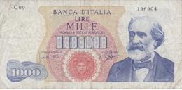 BILLETE DE ITALIA DE 1000 LIRAS DEL AÑO 1962 DE VERDI  (BANKNOTE) - [ 2] 1946-… : República
