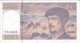 BILLETE DE FRANCIA DE 20 FRANCS DEL AÑO 1997 SERIE N.060 EN CALIDAD EBC (XF)   (BANKNOTE) CLAUDE DEBUSSY - 20 F 1980-1997 ''Debussy''
