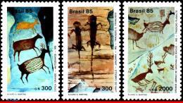 Ref. BR-1998-00 BRAZIL 1985 - CAVE PAINTING, ROCK ART,, DEER, SET MNH, ART 3V Sc# 1998-2000 - Brazil