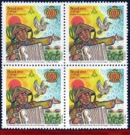 Ref. BR-3236-Q BRAZIL 2012 FAMOUS PEOPLE, LUIZ GONZAGA, SINGER,, BIRD, MUSIC, MASONRY, BLOCK MNH 4V Sc# 3236 - Franc-Maçonnerie
