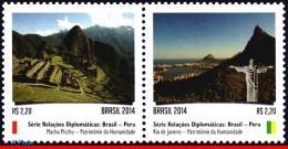 Ref. BR-3280 BRAZIL 2014 RELATIONSHIP, WITH PERU, MACHU PICCHU, AND RIO DE JANEIRO, ARCHAEOLOGY, MNH 2V Sc# 3280 - Unused Stamps
