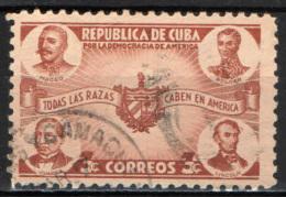 CUBA - 1942 - MACEO, BOLIVAR, JUAREZ, LINCOLN E STEMMA DI CUBA - USATO - Cuba