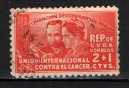 CUBA - 1938 - 40° ANNIVERSARIO DELLA SCOPERTA DEL RADIO - PIETRO E MARIA CURIE - LOTTA CONTRO IL CANCRO - USATO - Cuba