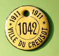 """Rare Jeton De Taxe Sur Les Chiens """"Ville Du Creusot 1911"""" Médaille De Chien - Le Creusot - Professionals / Firms"""