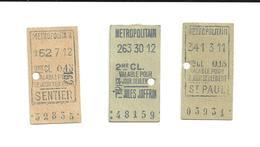 3 Tickets Anciens. Métropolitain. Paris. Voir Description - Europe