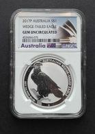 Australia, Wedge Tailed Eagle 1 Oz 2017 Silver 999 Pure In SLAB GEM BU NGC - 1 Oncia Argento Puro Bullion Perth Min - Australia