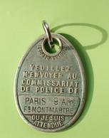 """Jeton D'identification De Chien """"Médaille Polaire - Paris 9e - Fg Montmartre"""" Médaille De Chien - Professionals / Firms"""