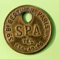 """Jeton D'identification De Chien """"SPA - 39 Bd Berther Paris"""" Médaille De Chien - Professionals / Firms"""