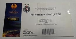 Football Ticket FK Partizan : Neftci PFK 20.9.2012  UEFA EUROPA League Stadion Partizan  SOCCER Serbia - Match Tickets