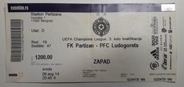 Football Ticket FK Partizan : PFC Ludogorets  UEFA Champions League Stadion Partizan  SOCCER Serbia - Match Tickets