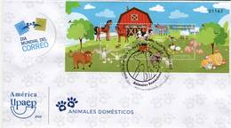 Lote 2018-20F, Colombia, 2018, SPD-FDC, Upaep, Animales Domésticos, Domestic Animals, Bird, Horse, Dog, Chicken - Colombia