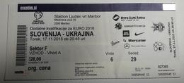 Football Ticket EURO 2016 Slovenia : Ukraine 17.11.2015 Stadium Ljudski Vrt Maribor - Match Tickets