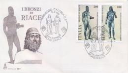 Italy 1981 FDC Pair Riace Bronze Cancel Of Reggio Calabria - Archeologia