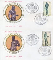 Italy 1981 FDC Riace Bronze Cancel Of Riace On 2 Covers - Archeologia