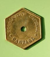 """Jeton Monnaie De Necessité """" Coopérative L'Avenir - Lille - Partage """" 59 Nord - French Token - Monetary / Of Necessity"""