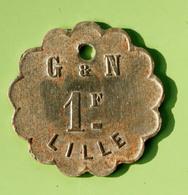 "Jeton De Nécessité ""G & N / 1F / Lille"" Grimondez & Nuytten - Emergency Token - Monetary / Of Necessity"