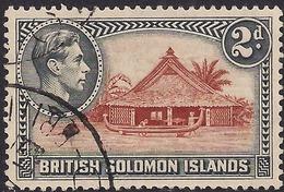 British Solomon Islands 1939 - 51 KGV1  2d Canoe House SG 63 ( H1161 ) - British Solomon Islands (...-1978)