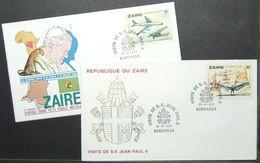 Zaire - Cover Lot (2) Aviation Pope John Paul II Leonardo Da Vinci 1980 - Papas