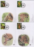 World Wide Fund For Nature 2014 Sierra Leone-western Bongo   Set 4 Official First Day Covers - FDC