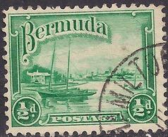 Bermuda 1936 - 47 KGV1 1/2d Green Red Hole Paget SG 98 ( H1131 ) - Bermuda
