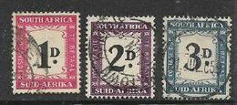 South Africa, 1950 -58, 1d , 2d, 3d, (no Hyphen) Postage Due , Used - South Africa (...-1961)