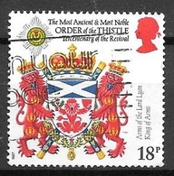1987 Arms Of The Lord Lyon King Of Arms - Order Of The Thistle, 18p, Used - 1952-.... (Elizabeth II)