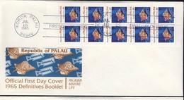 PALAU 1985  3 FDC CARNET POISSONS YVERT N°C69a-69b-70a - Palau