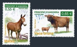 Andorra French 648-649,MNH See Perf,.Animals 2009.Equus Mulus,Bos Taurus. - French Andorra