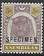 Negri Sembilan, 1895 -99, Tiger, 5 Cents, Opt SPECIMEN, MNH ** - Negri Sembilan