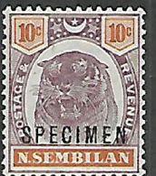 Negri Sembilan, 1895 -99, Tiger, 10 Cents, Opt SPECIMEN, MNH ** - Negri Sembilan