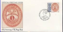 MARSHALL 1990 FDC CENTENNAIRE DU 1 PENNY BLACK  YVERT N°290 - Marshall