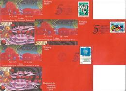 1602f: Künstlerkuvert Wolfgang Hutter, Alle 3 UN- Postverwaltungen Wien, Genf, NY - Moderne