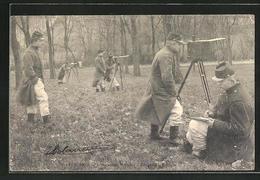 CPA Telegraphie Optique, Des Soldats Avec Optischem Gerät - Militari