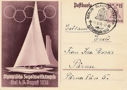 Olympiade Berlin 1936: Ganzsache Segelwettkämpfe Kiel - Allemagne