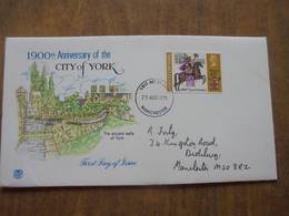 S032: FDC: CITY OF YORK-1900th Anniversary. The Ancient Walls Of York. 7.5p  25 AUG 1971 Manchester. - FDC