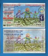 Lotteria EUROPEA Per Le Città Teremotate  1998, SERIE AL. 21829. Vedi Descrizione. - Biglietti Della Lotteria