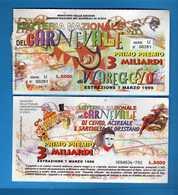 Lotteria Nazionale Del CARNEVALE Di VIAREGGIO  1999, SERIE U. 00281. Vedi Descrizione. - Biglietti Della Lotteria