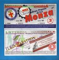 Lotteria Nazionale Gran Premio Di F.3 Di Monza Maratona Di Torino Firmana   1999, SERIE M. 08800. Vedi Descrizione. - Biglietti Della Lotteria