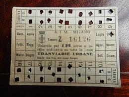 17360) MILANO ABBONAMENTO ATM TESSERA TRAMVIARIA SENZA DATA FORMATO 9,5 X 7 Cm- - Abbonamenti