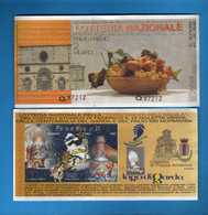 Lotteria Nazionale PERDONANZA Dell'AQUILA Estrazione 26 Agosto 2001 SERIE Q.97212 . Vedi Descrizione. - Biglietti Della Lotteria