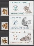 MiNr. 204 - 206 + 3 MH 65 - 67 Tschechische Republik / 1999, 17. Febr. Katzen. - Tschechische Republik