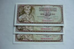 3 Pcs 10 Dinara 1981 With Serial Numbers In Row, UNC - Serbie