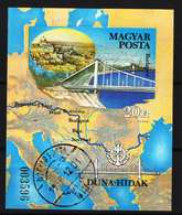 Hungary 1985. Dunau Bridge Nice Sheet - Used IMPERF Sheet Michel: Block 176B. / 25 EUR - Ungarn