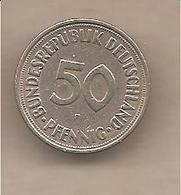 Germania - Moneta Circolata Da 50 Pfennig Bordo Rigato Zecca F - 1950 - [ 6] 1949-1990 : GDR - German Dem. Rep.