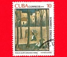 CUBA - Usato - 1979 - Dipinti Di Victor Emmanuel Garcia - Paesaggio - Donna Con Erba - 10 - Cuba